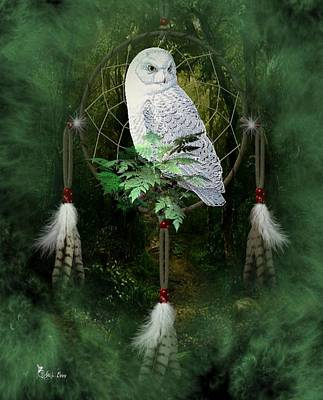 Dream Catcher White Owl Art Print