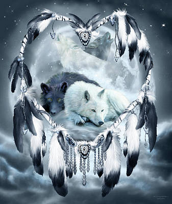 Mixed Media - Dream Catcher - Yin Yang Wolf Mates 2 by Carol Cavalaris