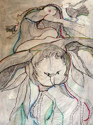 Wall Art - Drawing - Dream Flight 2 by Rosalinde Reece