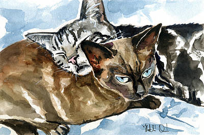 Painting - Dream Guardian - Cat Painting by Dora Hathazi Mendes