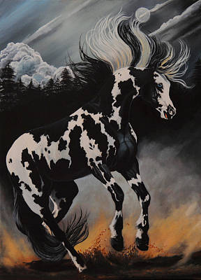 Painting - Dream Horse Series 12 - When Night Fall's by Cheryl Poland