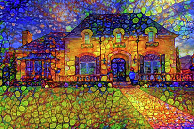 Mixed Media - Dream House After Sunset by Lilia D