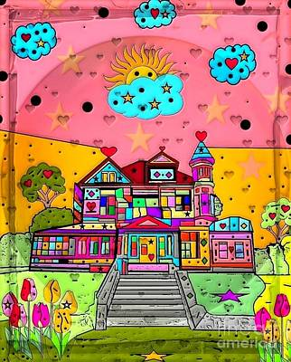 Digital Art - Dream House Popart By Nico Bielow  by Nico Bielow