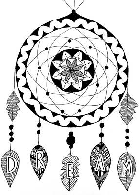 Dreamcatcher Drawing - Dream In Black And White by Elizabeth Davis