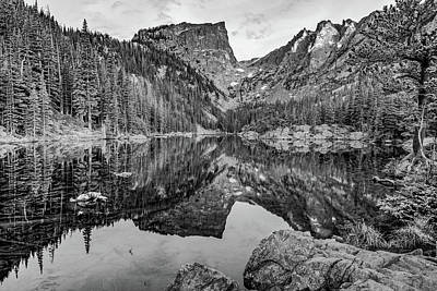 Photograph - Dream Lake And Hallet Peak - Monochrome by Gregory Ballos