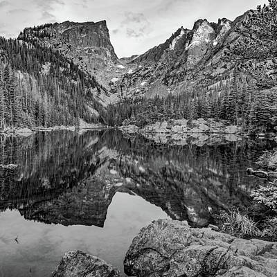 Photograph - Dream Lake And Hallet Peak - Square Format Monochrome by Gregory Ballos