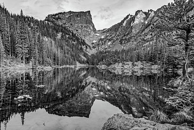 Photograph - Dream Lake Reflections And Rocky Mountain National Park Landscape - Black And White by Gregory Ballos