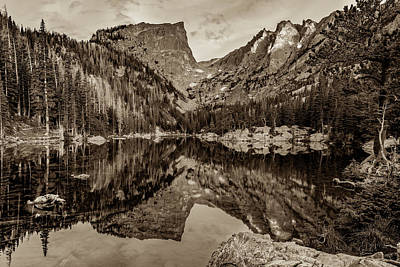 Photograph - Dream Lake Reflections And Rocky Mountain National Park Landscape - Sepia by Gregory Ballos