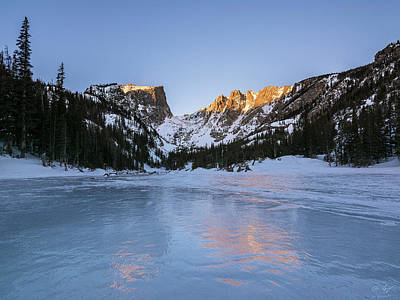 Photograph - Dream Lake Winter Sunrise by Aaron Spong
