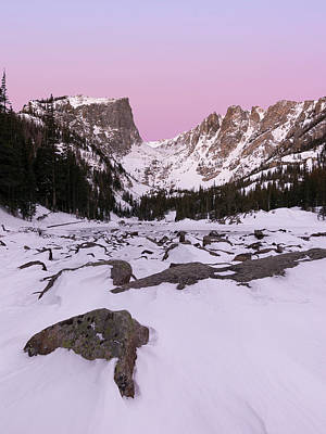 Art Print featuring the photograph Dream Lake Winter Vertical by Aaron Spong