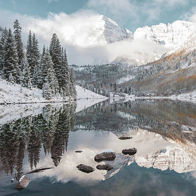 Landscapes Royalty-Free and Rights-Managed Images - Dream Mountain - Maroon Bells Aspen Mountain Landscape Square by Gregory Ballos