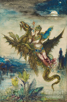 Moonlit Night Painting - Dream Of The Orient Or The Peri by Gustave Moreau