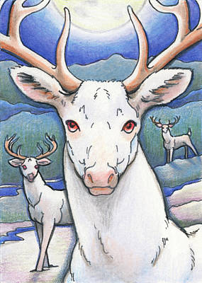 Artist Trading Cards Drawing - Dream Of The White Stag by Amy S Turner