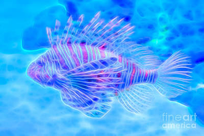 Digital Art - Dream State Lionfish by Ray Shiu