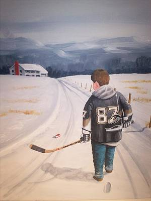 Youth Hockey Painting - Dream Walking - The Kid by Ron  Genest