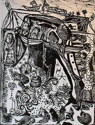 Lino Cut Drawing - Dream With Drops Of Light by Eva Darmo
