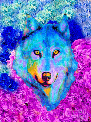 Painting - Dream Wolf by Saundra Myles