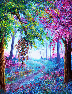 Mystical Landscape Painting - Dreamcatcher by Ann Marie Bone