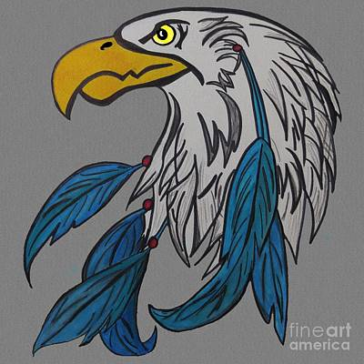 Dreamcatcher Drawing - Dreamcatcher Eagle by Darci Smith