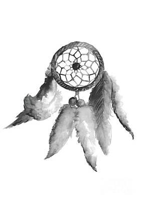 Dreamcatcher Painting - Dreamcatcher Giclee Fine Art Print, Boho Feathers Illustration, Dream Catcher Wall Hanging by Joanna Szmerdt
