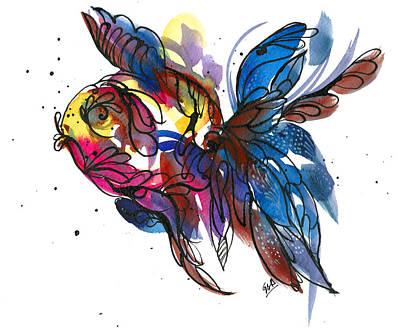 Painting - Dreamcatcher Goldfish by Garima Srivastava