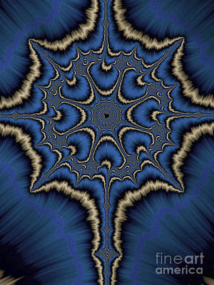 Artistic Digital Art - Dreamcatcher In Blue And Gold by John Edwards