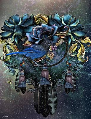 Dreamcatcher Art Mixed Media - Dreamcatcher Winter Blues by G Berry