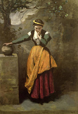 Dreamer At The Fountain Art Print by Jean Baptiste Camille Corot