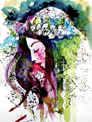 Dreamer Wall Art - Painting - Dreamer Girl II by Kovacs Anna Brigitta