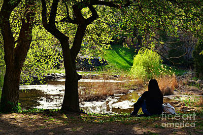 Photograph - Dreaming By The Pond - Central Park In Spring by Miriam Danar