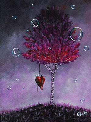 Dreaming Is Beautiful - Pink Tree Painting Print by Shawna Erback