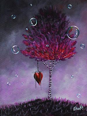 Dreaming Is Beautiful - Pink Tree Painting Art Print by Shawna Erback