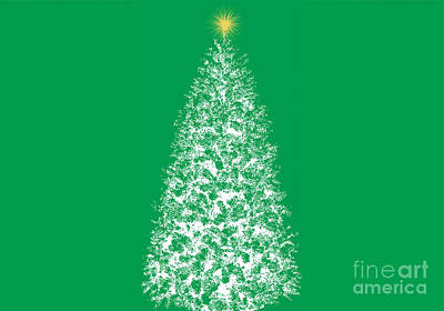 Digital Art - Dreaming Of Christmas Trees Green by Conni Schaftenaar