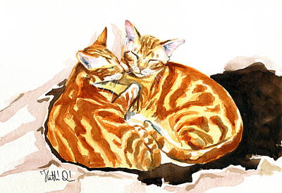 Painting - Dreaming Of Ginger - Orange Tabby Cat Painting by Dora Hathazi Mendes
