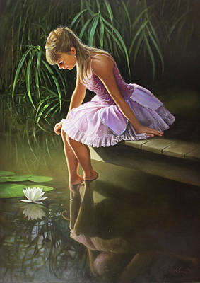 Water Garden Wall Art - Painting - Dreaming by Pieter Wagemans