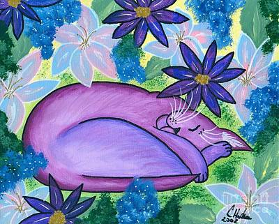 Art Print featuring the painting Dreaming Sleeping Purple Cat by Carrie Hawks