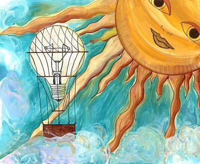 Lightbulb Drawing - Dreaming Transportation Of Ideas by Sherie Balko-Nation
