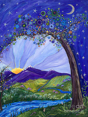 Purple Sky Painting - Dreaming Tree by Tanielle Childers