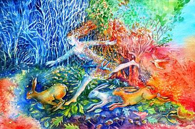 Painting - Dreaming With Hares by Trudi Doyle