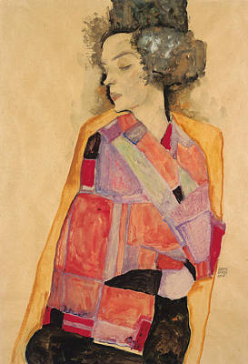 At Peace Painting - Dreaming Woman by Egon Schiele
