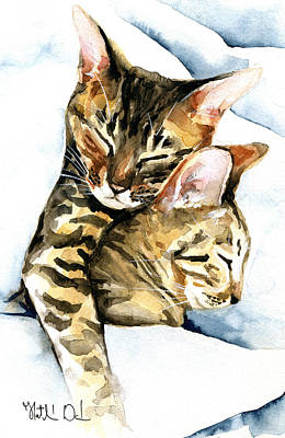 Painting - Dreamland - Bengal And Savannah Cat Painting by Dora Hathazi Mendes