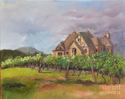 Painting - Dreams Come True - Chateau Meichtry Vineyard - Plein Air by Jan Dappen