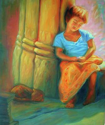 Painting - Dreams - Girl At Angkor Wat by Yen