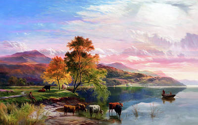 Cows Mixed Media - Dreams Of A Summer Sunset  by Georgiana Romanovna