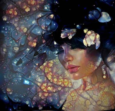 Mixed Media - Dreams Of Floral Galaxy  by Lilia D