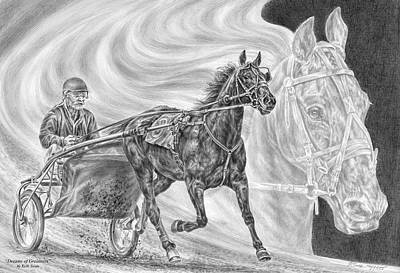 Drawing - Dreams Of Greatness - Harness Racing Art Print by Kelli Swan