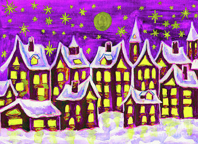 Painting - Dreams-town In Winter, Painting by Irina Afonskaya