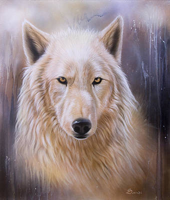 Arctic Wolf Painting - Dreamscape Wolf IIi by Sandi Baker