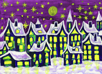 Painting - Dreamstown In Winter, Painting by Irina Afonskaya