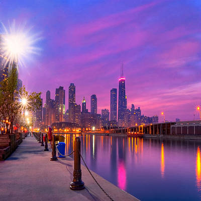 Photograph - Dreamy Chicago Skyline At Dusk by Mark E Tisdale